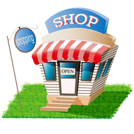 shop, room on the lawn, for your website. vector