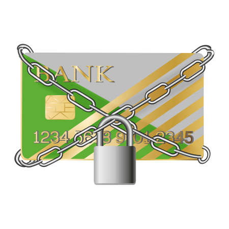 Credit card with chains and pad lock. Concept of protection. flat illustration concept for web banners, web and mobile app, web sites, infographics.