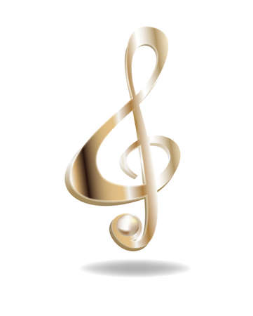 Gold ribbon in the shape of treble clef vector illustration