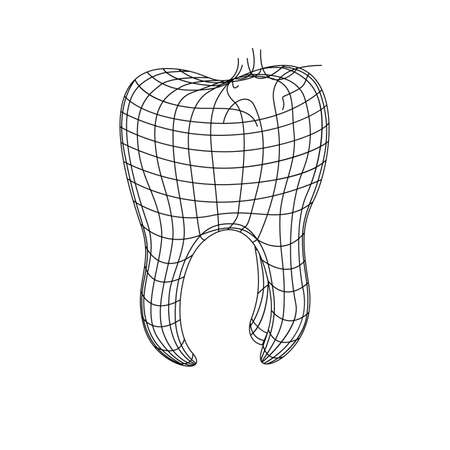 3d polygonal tooth isolated on white with caries Vector dentistry illustration. Medical or healthcare concept. Wire mesh icon