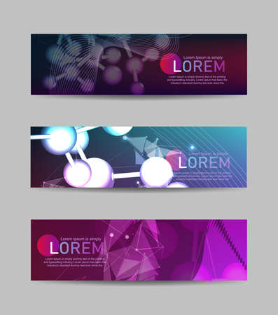 Horizontal banners with abstract molecules design. Vector illustration. Atoms. Medical background for banner or flyer. Molecular structure with blue spherical particles.