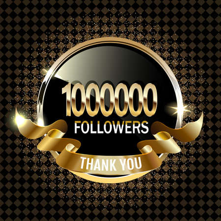 1 million followers thank you gold paper cut number illustration. Special user goal celebration for 1000000 social media friends, fans or subscribers. EPS10 vector. Vector Illustration
