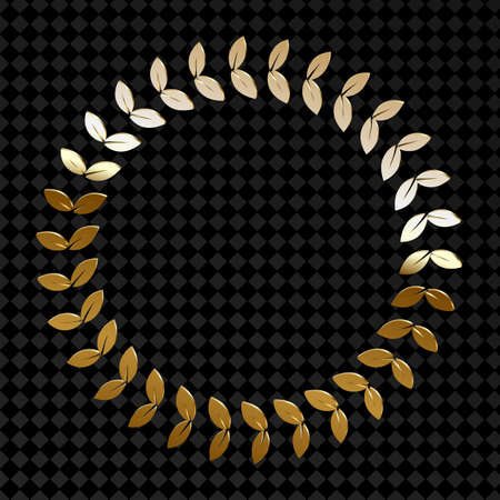 Trendy with circle gold on gold background for decoration design. Golden light decoration. Fashion and style. Fashionable abstract geometric modern texture. Circle frame. Ilustração