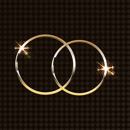 vector gold wedding rings isolated on transparent