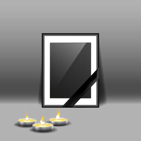 Black mourning frame with black ribbon and burning candles isolated on gray background. Vector Ilustração