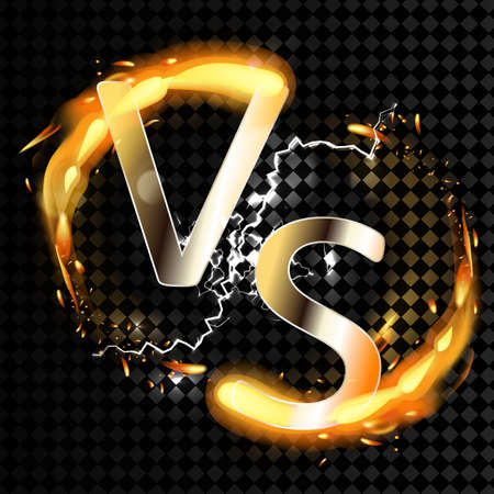 Versus vs background with fire on transparent background. Vector.