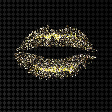 Gold and glittering glamorous kissing shaped lips. Vector.