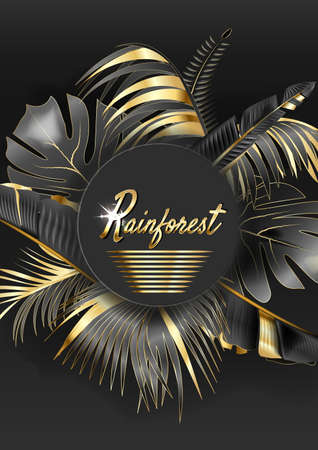 Vector circle banner with black and gold tropical leaves on dark background. Ilustração