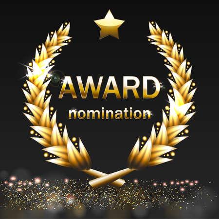 Vector gold award wreaths, laurel on black background vector illustration 向量圖像