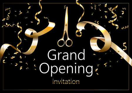 Grand opening sparkling banner. Text composition with golden splashes and ribbons. Elegant style. Vector Illustration