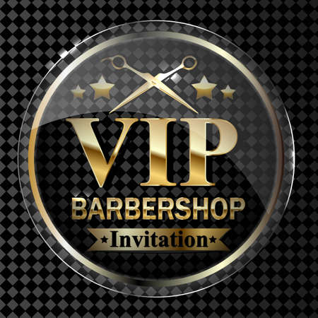 Part of the Barber shop design element on a transparent background in gold. Vector