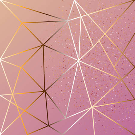 Copper metallic polygonal texture with bronze glitter triangles, geometric and diamond shapes. Vector Ilustração