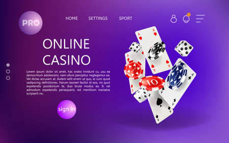 Home page for online casino website. Vector.