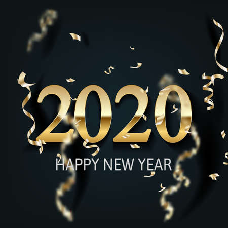 Happy New Year 2020 - New Year Shining background with gold and glitter. Happy New Year Banner with 2020 Numbers for greeting card, calendar 2020.