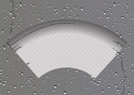 Wiper cleans the glass. Rain and snow on transparent background. Transparent effect. Vector Illustration.