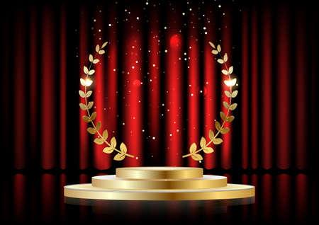 Corona de laurel dorado sobre el podio redondo rojo con escalones delante de las cortinas. Ilustración vectorial