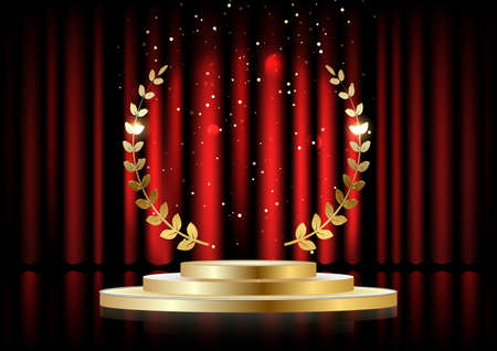 Golden laurel wreath over red round podium with steps in front of the curtains. Vector illustration