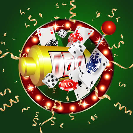 Casino 3d cover, slot machines and roulette with cards, Scene background art. Vector illustration  イラスト・ベクター素材