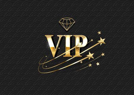 VIP club invitation vector template. Luxury 3d logo with golden gradient frame. Privilege, premium membership card design idea. Realistic private club emblem on glamorous background Иллюстрация