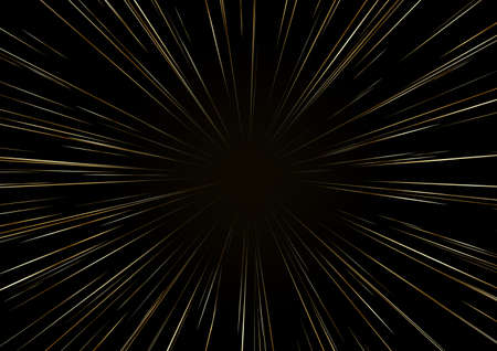 Background with stars or Hyperspace. The light of moving Golden stars. Speed of light. Vector.
