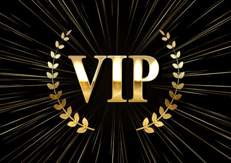 Vip golden label with laurel wreath and rays on a black background. Vector illustration..