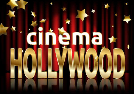 Hollywood cinema. Movie banner or poster in retro style. Vector illustration.