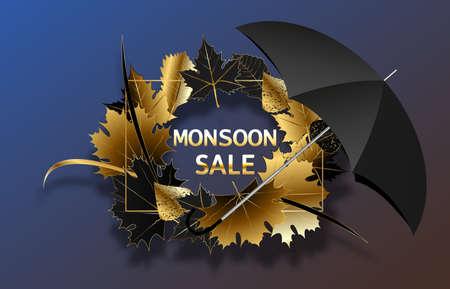 Monsoon sale. Vector autumn promotion.