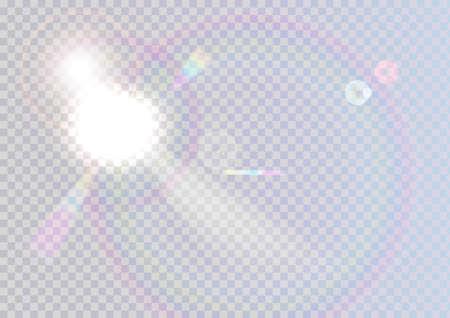 Light glare with a rainbow circle on a transparent Ilustrace