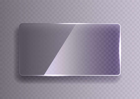 Glass plate on transparent background. See through mock up square shape. Vector elements with glares and highlights. Ilustrace