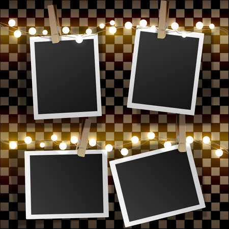 Set of square vector photo frames on binders and yellow light garlands. Template photo design.Isolated on transparent background