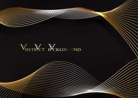 Abstract Gold Waves Design. Shiny golden moving lines design element with glitter effect on dark background for Business card. Vector Illustration 向量圖像