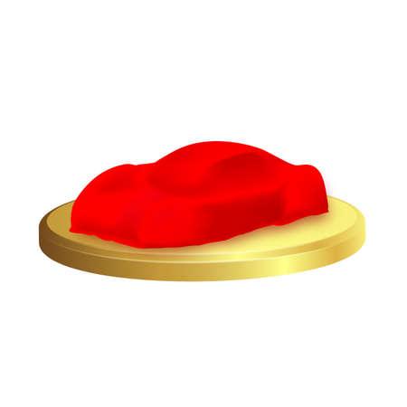 Voiture réaliste de vecteur recouverte de soie rouge isolée sur fond blanc. Présentation de voiture neuve en concession, auto surprise sous drap écarlate.