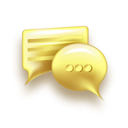 3d Gold Chat bubble. Talk, dialogue, messenger or online support concept. Vector illustration