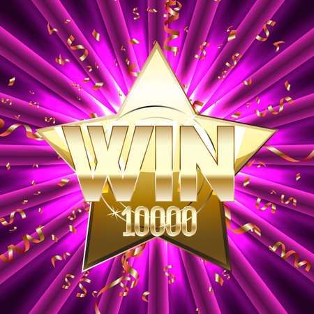 Win banner for gambling games such as poker, roulette, slot machines, cards and other casino games. Vector illustration. Ilustração