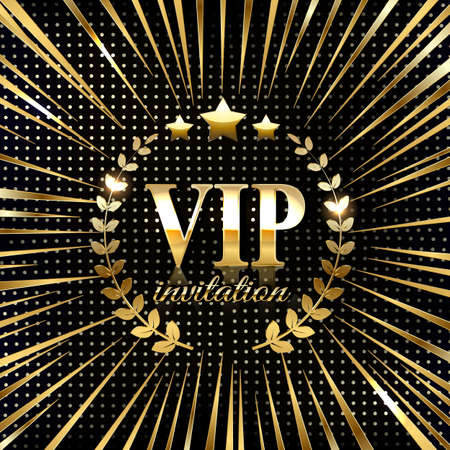 VIP party premium invitation card poster flyer. Black and golden design template.  イラスト・ベクター素材