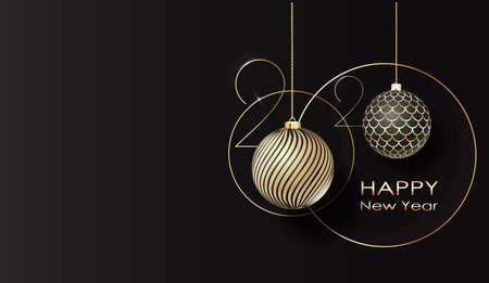 Grußkarte. Frohes neues Jahr 2020 Goldene Kugeln. Vektor
