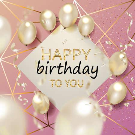 Tarjeta de felicitación elegante de cumpleaños con globos dorados y confeti cayendo Vector