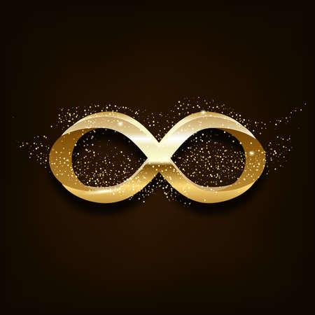 Golden Infinity Symbol on dark background. Vector