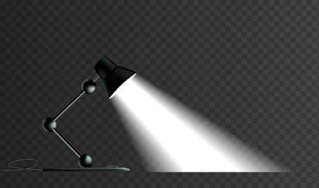 Office lamp with light effect. On a dark transparent background
