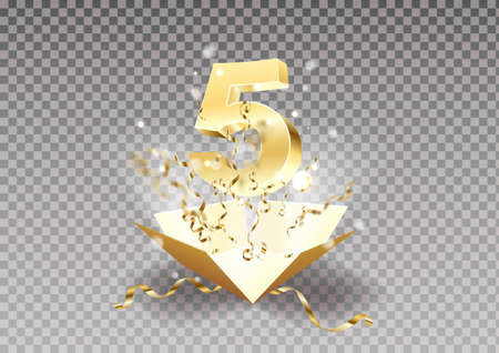 5th year anniversary room and open the gift box with explosions of confetti isolated design element. Template five the celebration of the fifth birthday on a transparent background vector.