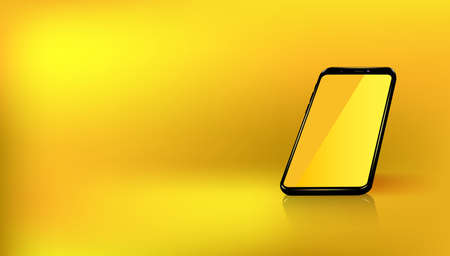 The perspective layout of the smartphone is transparent yellow for convenient placement of the demo application and game. Yellow background.