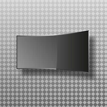 Curved TV screen lcd, plasma realistic illustration vector. Illustration
