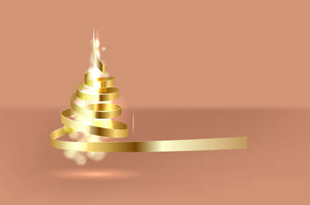 Merry Christmas and Happy New Year. Christmas tree made by Gold ribbon roll. Vector.