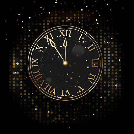 Watch the new year without five twelve, gold on a dark background of fashionable design. Vector