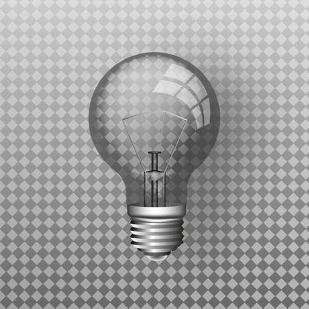 Transparent vector realistic light bulb isolated on transparent background. Vector. 向量圖像