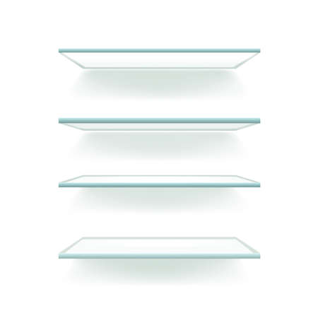 Illustration of glass shelves isolated against a white wall. Vector.
