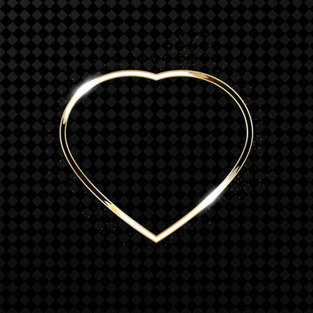 Glitter gold heart frame with space for text. Heart with golden light. Vector illustration.