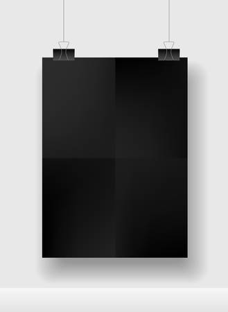 Black blank square sheet of paper on the white background, vector mock-up illustration Ilustrace