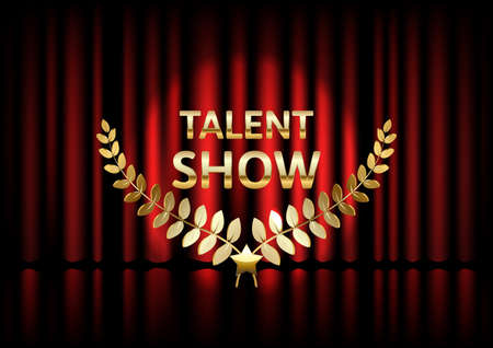Talent show banner, poster, gold inscription on red curtain, advertising or invitation, event, vector illustration Ilustrace