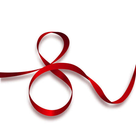 continued long red ribbon in shape of figure 8. Vector isolated element for March 8th.